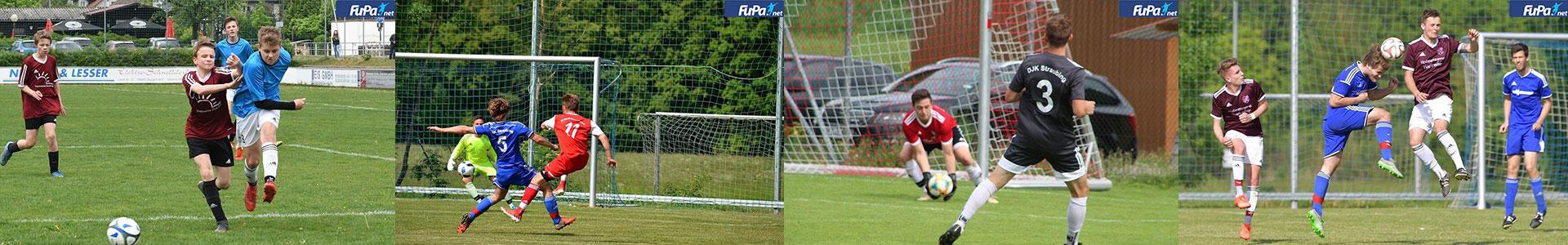 Headerbild - verschiedene Fußballfotos während eines Spiels